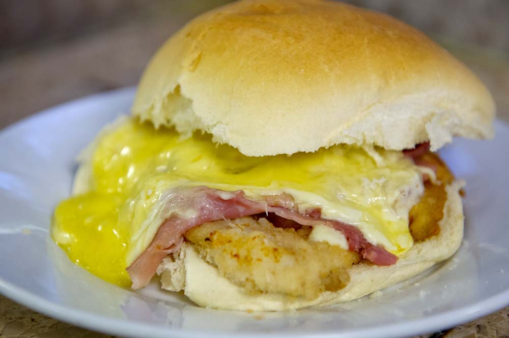 Cheese and Peppers City Cafe Chicken Escalope Ham & Cheese Bap