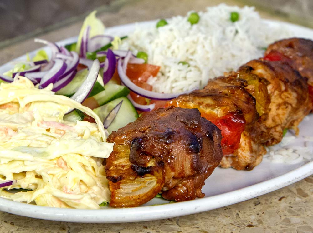 Cheese and Peppers City Cafe Chicken Kebab Rice & Salad Crop