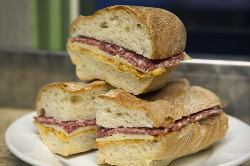 Cheese and Peppers City Cafe Ciabatta With Salami & Mozzarella