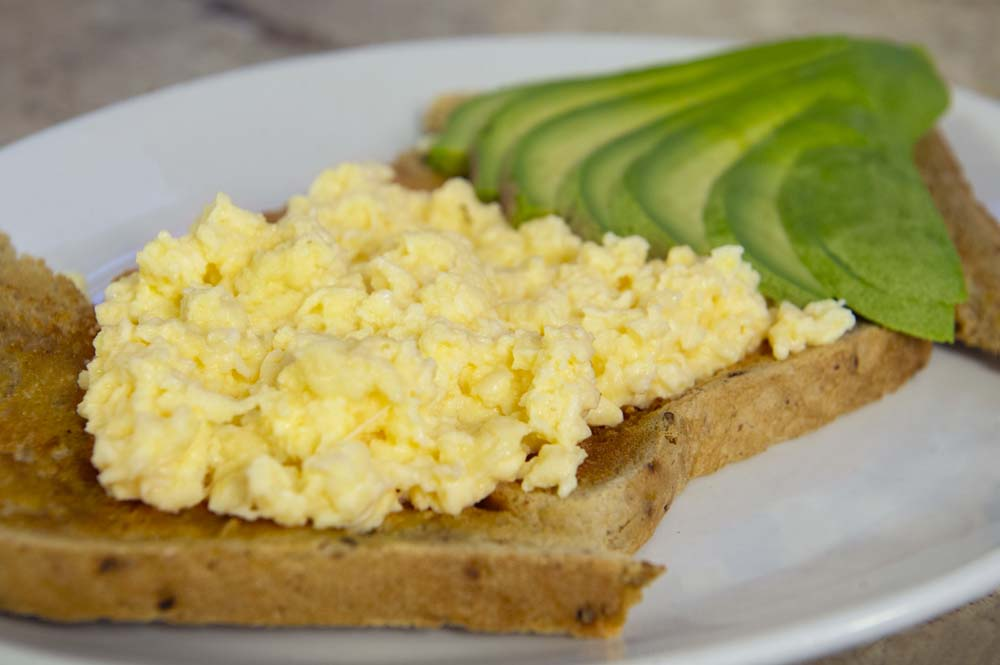Cheese and Peppers City Cafe Scrambled Eggs & Avocado on Toast