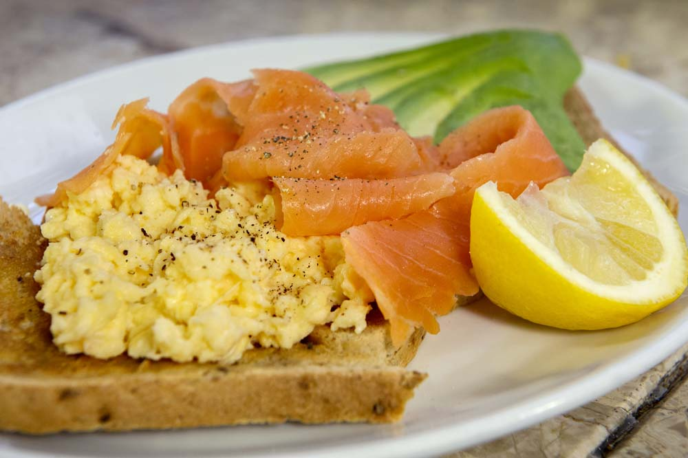 Cheese and Peppers City Cafe Scrambled Eggs with Smoked Salmon & Avocado