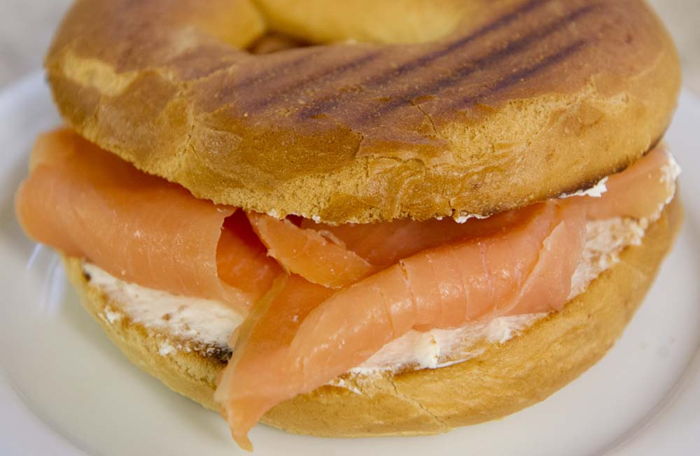 Cheese and Peppers City Cafe Smoked Salmon Cream Cheese Bagel Crop