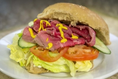 Cheese and Peppers City Cafe Roast Beef Salad Bap